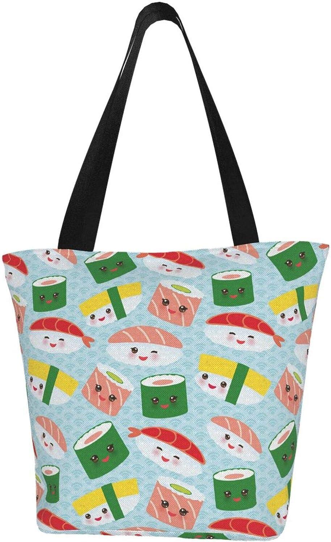 Japanese Sushi Kawaii Cute Salmon Themed Printed Women Canvas Handbag Zipper Shoulder Bag Work Booksbag Tote Purse Leisure Hobo Bag For Shopping