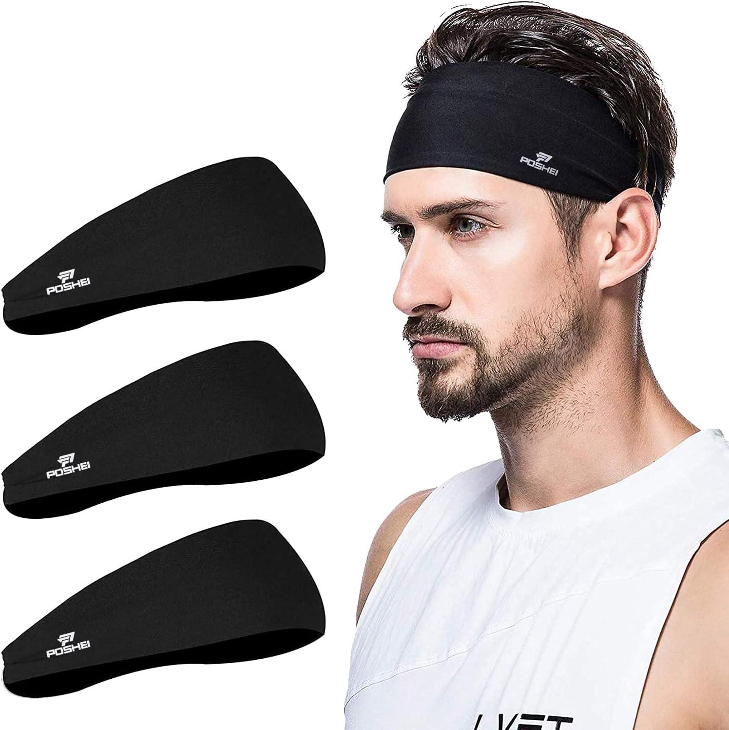 poshei Mens Headband, Mens Sweatband & Sports Headband for Running,Cycling, Yoga, Basketball - Stretchy Moisture Wicking Unisex Hairband: Shoes