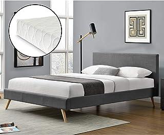 Lit Rembourré Moderne Solide avec Sommier à Lattes Matelas à Mousse à Froid Lit Double Robuste Confortable Housse en Lin 2...