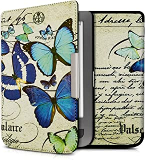 kwmobile Case for Pocketbook Touch Lux 3/Basic Lux/Basic Touch 2 - Book Style PU Leather Protective e-Reader Cover Folio Case - Blue/Mint/Beige