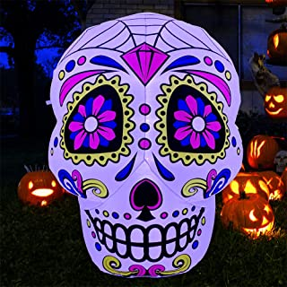 SEASONBLOW 4 Ft LED Light Up Inflatable Skull Cinco de Mayo Decoration for Garden Lawn Yard Home
