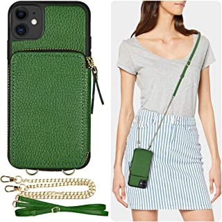 iPhone 11 Wallet Case, iPhone 11 Case, ZVE Case with Card Holder Slot Crossbody Chain Handbag Purse Wrist Strap Zipper Leather Case Protective Cover for Apple iPhone 11 6.1 inch - Dark Green