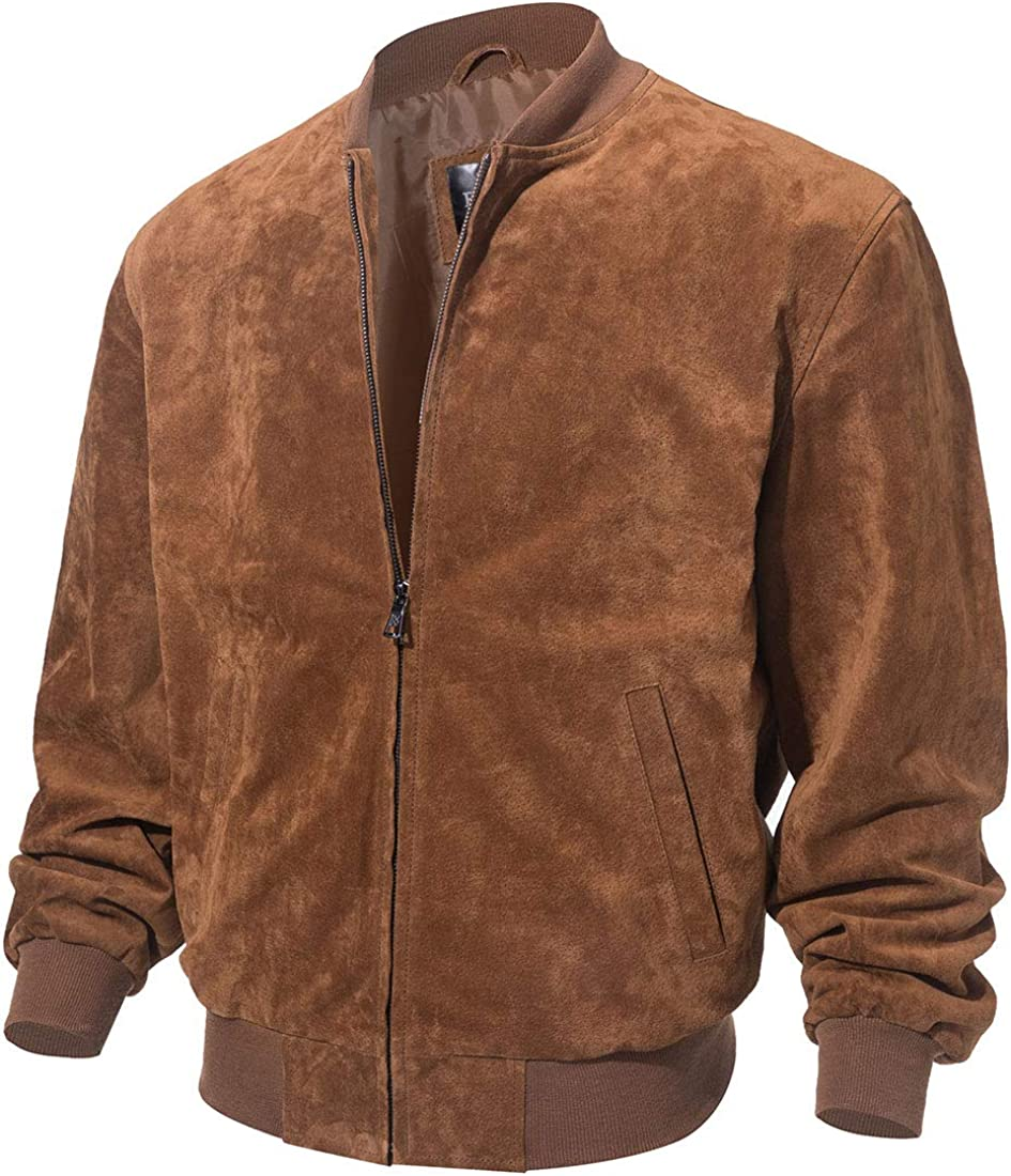 FLAVOR Men's Leather Baseball Bomber Jacket Vintage Suede Pigskin
