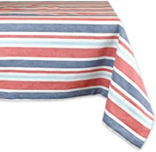 DII 100% Cotton, Machine Washable, Dinner, Summer & Picnic Tablecloth, 60 x 84, Patriotic Stripe, Seats 6 to 8 People