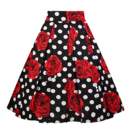 423b908b3a Girstunm Women's Pleated Vintage Skirt Floral Print A-line Midi Skirts with  Pockets