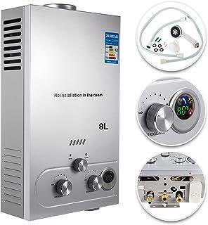 VEVOR Calentador de Gas 6L, Calentador de Agua de Gas 6L/8L/10L Calentador de Agua a Gas LPG, Calentador Gas Propano Gas Butano, Calentador de Agua (8L)