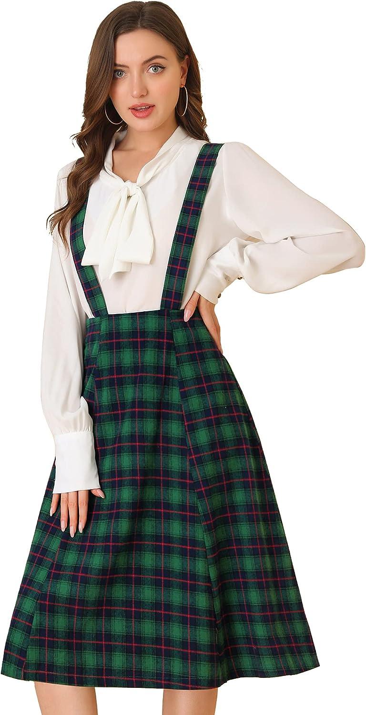 Allegra K Women's Vintage Plaid Tartan A-Line Overall Suspender Midi Skirt