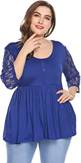 IN'VOLAND Involand Womens Plus Size Casual T Shirt 3/4 Sleeve Round Neck Loose Tunic Tops Lace Patchwork Blouse