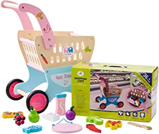 HM-tech Wooden Baby Learning Walker Toddler Toys, Kid's Wooden Shopping Cart with Cutting Fruit Set, Roll Cart Push & Pull Toy