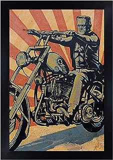 Eerie Rider by Mike Bell Easy Frankenstein Biker Black Framed Wall Art Print