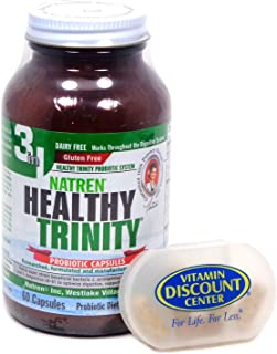 Bundle: 1 Healthy Trinity by Natren - 60 Capsules Probiotics and 1 Pill Box with Cold Shipping Included