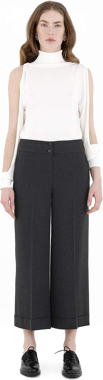 G-Line Dress Pants for Women Wide Leg High Waist Cropped Pants Casual Charcoal