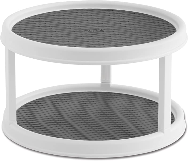 Copco 2555 0187 Non Skid 2 Tier Pantry Cabinet Lazy Susan Turntable 12 Inch White Gray