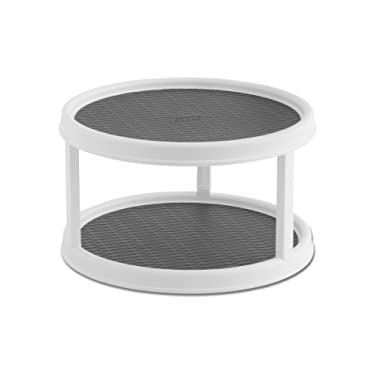 Copco 2555-0187 Non-Skid 2-Tier Pantry Cabinet Lazy Susan Turntable, 12-Inch, White/Gray