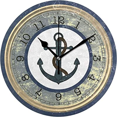 MIKA ブルーいかり(ロープ航海) 時計 クロック 壁掛け 掛け時計 かけ時計 壁掛け時計 インテリア 家具 おしゃれ オシャレ お洒落 デザイン 連続秒針