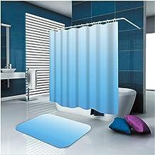 AMDXD Bathroom Set Curtain Mats Accessories Plain Blue Shower Curtains Decorative Mat for Bathroom 180x180CM