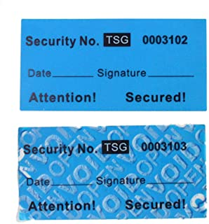 100pcs Non Transfer Tamper Resistant Security Warranty Void Labels/Stickers/Seals (Blue 1 x 2 inches, Unique Nos. - TamperSeals)