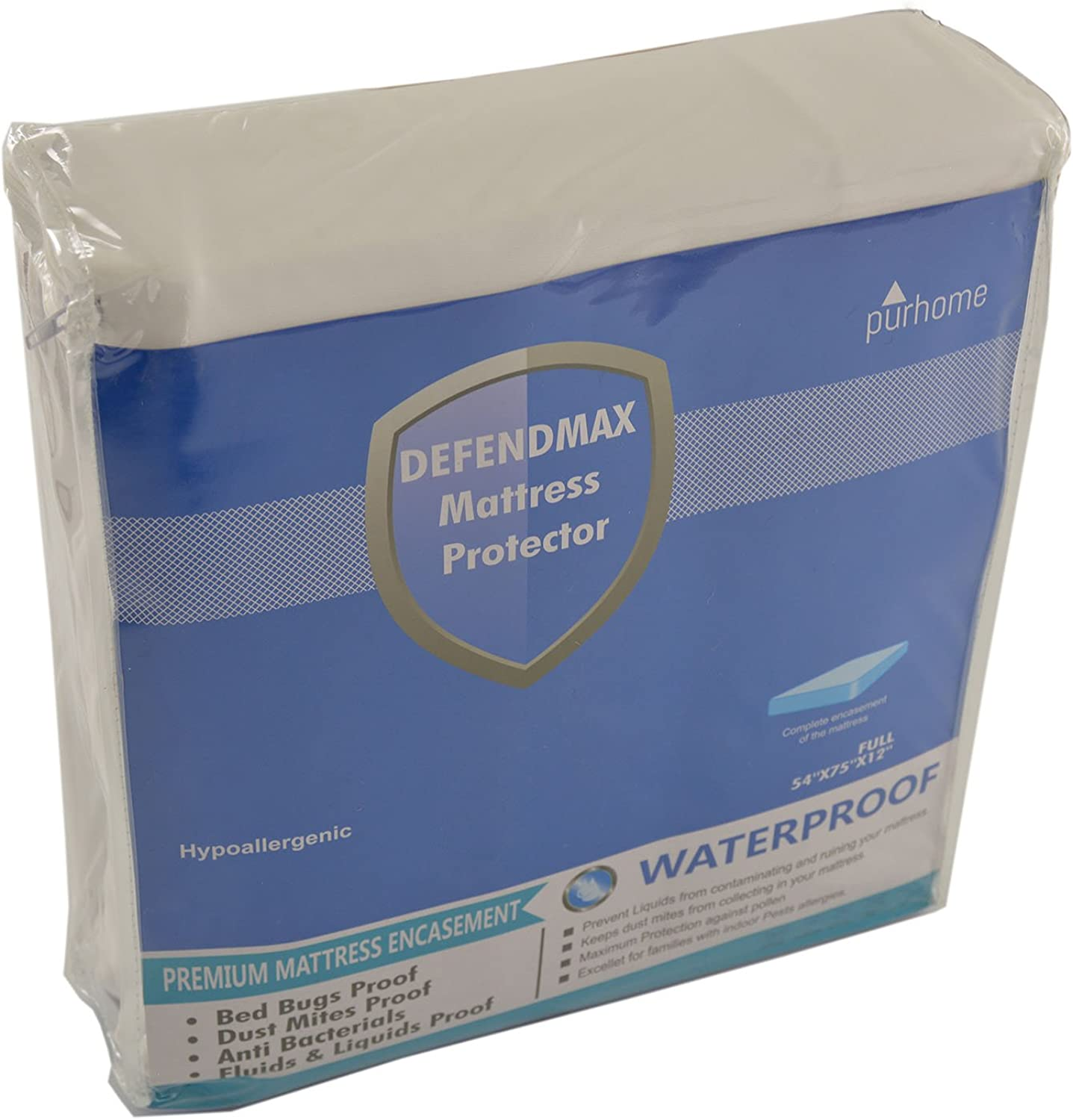 Mattress Predector Defender Encasement Cover Waterproof , Bed Bug Proof, Hypoallergenic, Breathable, Noise Free, Vinyl Free DefendMax Full Size Fits Up To 16 in Mattress
