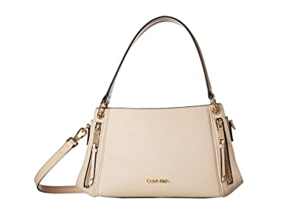 Calvin Klein Melanie Pebble Leather Satchel (Sand) Satchel Handbags
