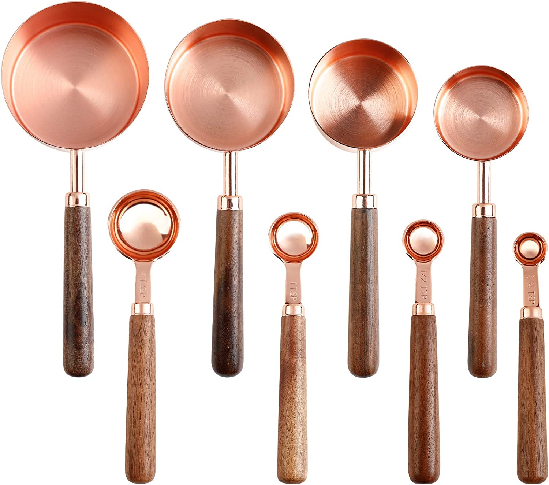 Licogel Measuring Spoon 2021 Set Wooden Handle Metal Chicago Mall Profess Rustless
