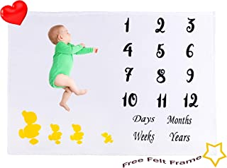 Baby Milestone Blanket | Thick Soft Flannel Fleece Backdrop | Large 55 x 40 Inch | Unisex Girl Boy Photography Prop |Day Week Month Year Tags| Perfect Baby Shower Gift| Bonus Felt Frame