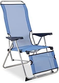 SOLENNY 50001072735205 - Sillón Regulable de Jardín Relax 5 Posiciones con Respaldo Anatómico Azul