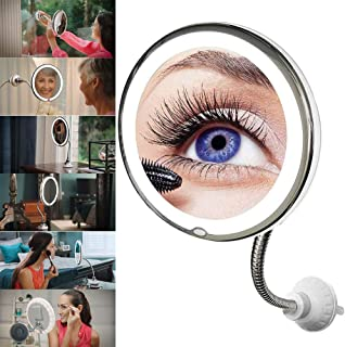 1PCS 10x Magnification Flexible Illuminated Mirror Round Suction Cup with Bendable Neck