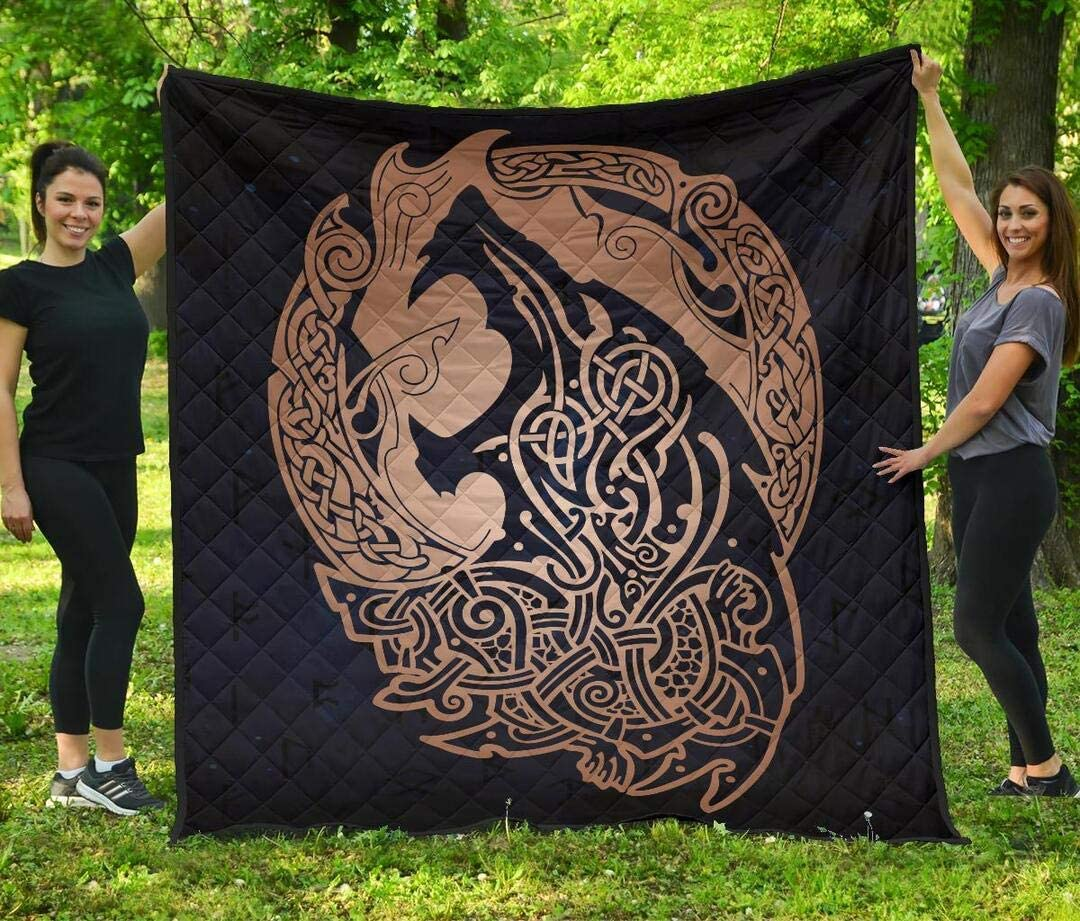 Personalized Orange Quilt Inexpensive Viking Wolf Nors Galaxy Celtic San Diego Mall