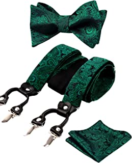 Mens Self-tied Paisley Bow Tie, Pocket Square and Clips Suspenders Set