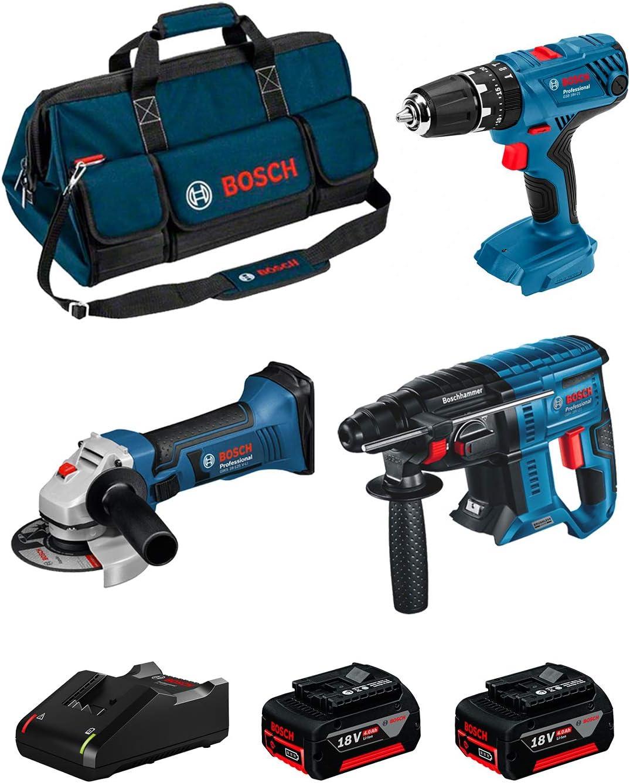 BOSCH Kit 18V BK304BAG (Martillo Perforador GBH 18V-21 + Taladro Percutor GSB 18V-21 + Amoladora GWS 18-125 V-LI + 2 Baterías de 4,0 Ah + Cargador + Bolsa)