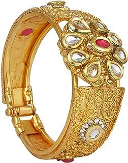 Fashion Jewelry Indian Bollywood 14 K Gold Plated Floral Kundan Rhinestone Bracelets Bangle for Women