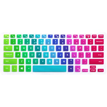 """Silicone Keyboard Cover for 13.3"""" Dell Inspiron 13 5000 7000 Series 5368 5378 7368 7378, 15.6 inch Dell Inspiron 15 5000 7000 Series i5568 7573 7569 (No Numeric Keypad) - Rainbow"""