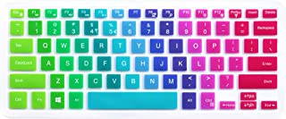 "Silicone Keyboard Cover for 13.3"" Dell Inspiron 13 5000 7000 Series 5368 5378 7368 7378, 15.6 inch Dell Inspiron 15 5000 7000 Series i5568 7573 7569 (No Numeric Keypad) - Rainbow"