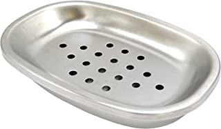 Lofekea Soap Dish Stainless Steel Soap Holder Bathroom Shower Double Layer Draining Soap Box, Oval