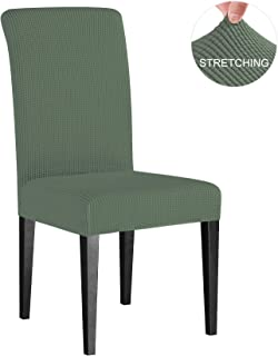 Subrtex Dining Room Chair Slipcovers Sets Stretch Furniture Protector Covers for Armchair Removable Washable Elastic Parsons Seat Case for Restaurant Hotel Ceremony(4 Pieces, Olivedrab Checks)