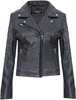 Ladies Leather Jacket Classic Biker Brando Real Womens Jacket