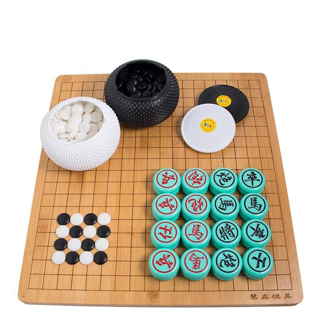 HQQ Go, Juego de ajedrez Chino, Tablero de ajedrez Doble de bambú para Principiantes de Backgammon Nan (Color : A): Amazon.es: Hogar