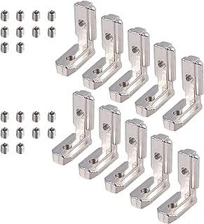 Justech 10PCs Soporte de Esquina 90 Grados Soporte de Ángulo de Acero Inoxidable Ranura en T 3030 Perfil de Aluminio Soportes en Forma de L de Acero al Carbono Conector de Esquina Interior