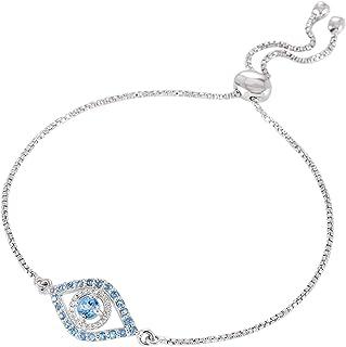 ATELIER PINKCITY Lucky Blue Evil Eye Bracelet 925 الفضة الاسترليني توباز الأزرق الأحجار الكريمة مطلي بالروديوم أساور بولو ...