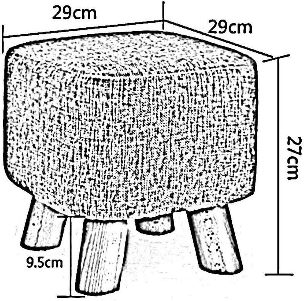 Chaise Repose-pieds en bois et en tissu carré plein quatre pieds Accueil Tabouret chaussure de mode Bench Creative Sofa Tabouret (Color : 01) 05