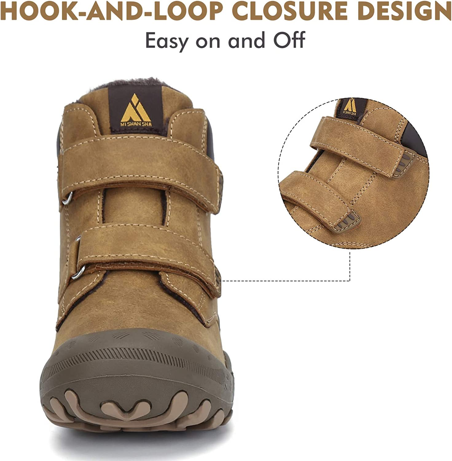 Mishansha Boys Girls Water Resistant Hiking Boots Anti Collision Non Slip Athletic Outdoor Ankle Walking Shoes