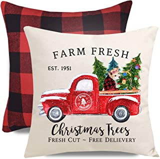PANDICORN Set of 2 Christmas Pillow Covers for Christmas Decorations, Red Truck Christmas Trees with Dog, Red and Black Buffalo Check Throw Pillow Cases, 18 x 18