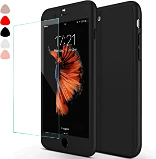sxxissky iPhone 6 Case, Ultra-Thin Full Body Coverage Hard Hybrid Plastic with [Tempered Glass Screen Protector] Protective Case Cover & Skin forApple iPhone 6 /6S 4.7 Inch(Black)