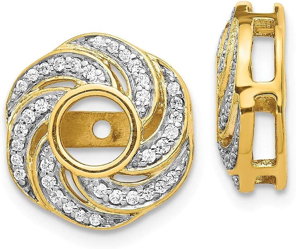Jewels By Lux 14k White Gold Swirl Diamond Jacket Earring