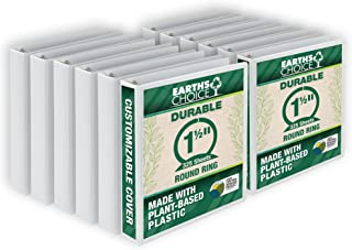 Samsill Earth's Choice 1.5 Inch Round Ring View Binder, Eco-Friendly and USDA Certified, White, Bulk Binder 12 Pack (MP128...