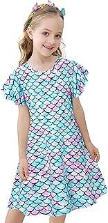 Lovekider Girls Summer Dresses Leopard Flutter Solid Black Sundress with Pockets for 5-12Y