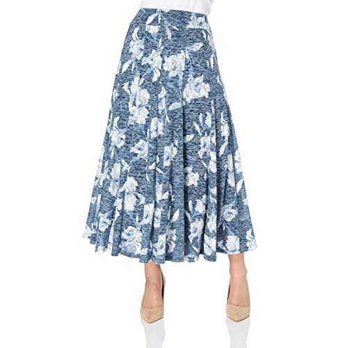 b341209fd7 Roman Originals Women Floral Print Summer Stretch Midi Length Wrap Around Gypsy  Skirt - Ladies A