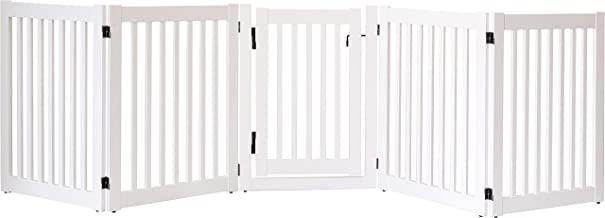 """product image for Dynamic Accents Amish Craftsman Highlander Series Solid Wood Pet Gates are Handcrafted 32"""" High - 5 Panel Walk Through/White"""