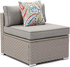 COSIEST Outdoor Furniture Add-on Armless Chair for Expanding Wicker Sectional Sofa Set w Warm Gray Thick Cushions, 1 Floral Fantasy Pillow for Garden, Pool, Backyard