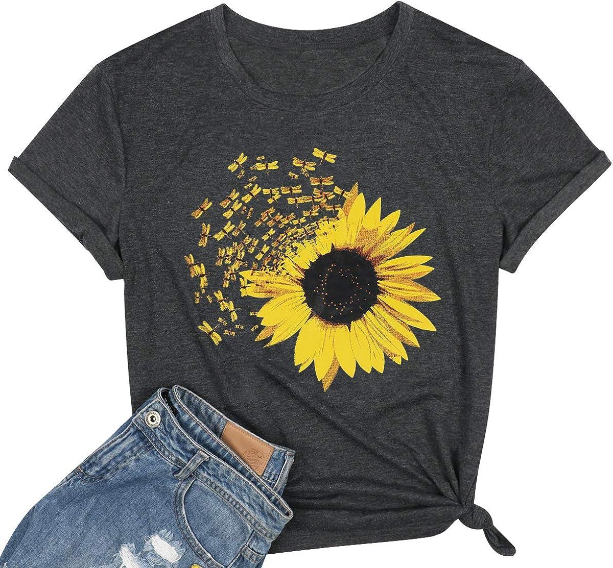 Sunflower Shirts for Women Cute Graphics Dandelion New item Credence Summer Tshirt
